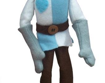 Sir Cloth soft toy knight sewing pattern.  Felt and fabric knight