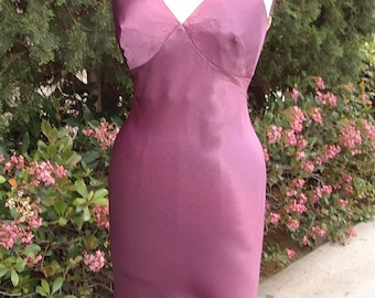 "Bias Cut Purple Satin Crepe 30s Style ""Harlow Gown"" with Train Size 8 Designer New Sample Item # 611  Gowns"