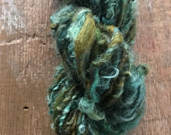 Loch Ness, 50 yards handspun yarn, green art yarn, lockspun yarn, curly handspun yarn,