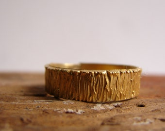 Gold Tree Bark Sterling Silver Ring