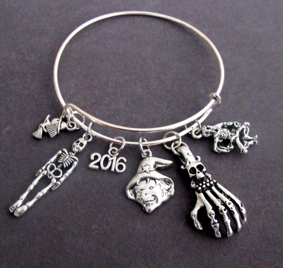 Halloween Party Bracelet,Halloween Expandable bangle bracelet,2016 Halloween Party Bracelet with Multiple Halloween Charms,Free Shipping USA