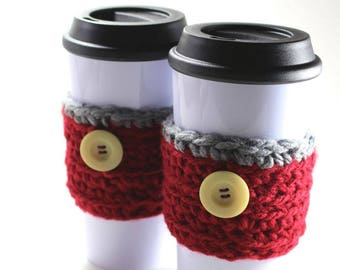 Coffee Cup Cozy - Burgundy/Gray Sweater for your 12, 16 or 20oz. Cup