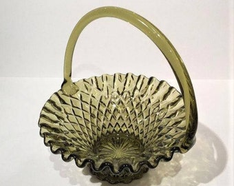 Green Glass Basket, Vintage Olive Green Glass Basket with Applied Handle, Holiday Decor, English Hobnail Pattern, Crimped Edge Basket