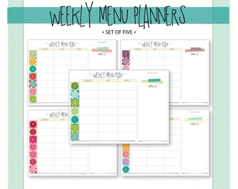 Weekly Menu Planner with Shopping List - Set of 5