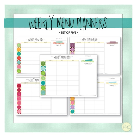 Weekly Menu Planner With Shopping List Set Of