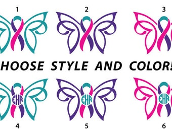 CUSTOM Thyroid Cancer Survivor Awareness Ribbon Butterfly with Monogram in Multiple Styles Removable Vinyl Decal
