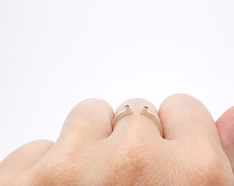 Simple silver ring, silver dainty ring, elegant silver stack ring, silver open ring, little devilish ring