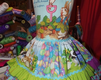 Vintage fabric Happy Easter Bunny  Peter Rabbit   Dress Size 3t