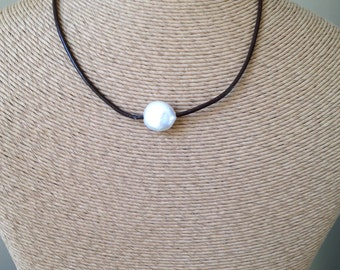 Coin Pearl Necklace, Freshwater Pearl Necklace, Pearl and Leather Necklace, Dark Brown Leather Cord, Bridesmaid Gift, Sundance Inspired