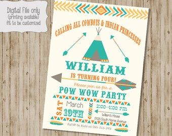 Birthday Pow Wow Invitation, Tribal Birthday Invitation, Pow Wow, Teepee, Cowboys and Indians Invitation,  Arrow, Feather, Boho, Boy Girl