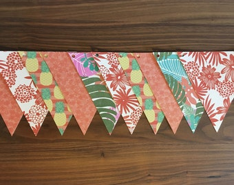 vintage pineapple and flower paper Garland