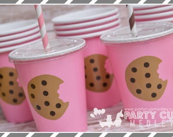 Milk and Cookies Birthday Party Cups, Lids & Straws-Set of 8, 10 or 12
