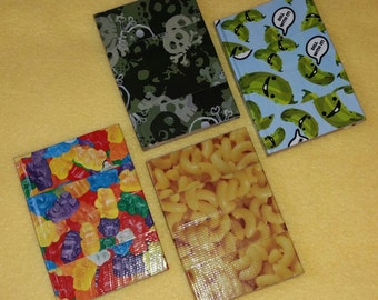 Duct Tape Mini Journal, gummy bears or skull and crossbones, recycled paper lined journal pocket journal duct tape journal