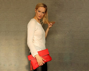 Oversized fold clutch Red  Leather Clutch