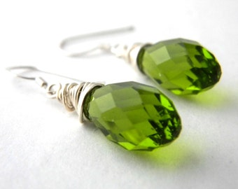 Sterling Silver Green Drop Earrings Wire Wrapped Glass Earrings Dangle Earrings Peridot Earrings