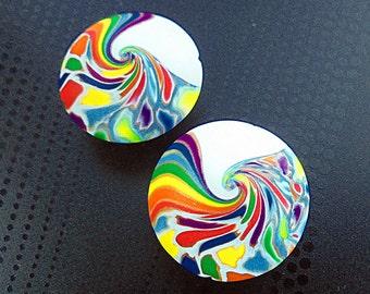 2 handmade rainbow beads, lentil beads, Polymer clay beads, Handmade beads, Swirl beads, Unique beads, Artist beads, Craft beads, Round bead