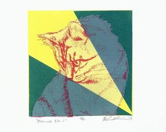 Meowza No 2 - Silkscreen Print of a Cat Portrait - 5x5