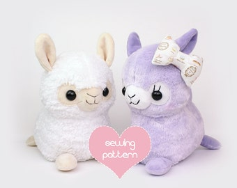"PDF sewing pattern - Alpaca Llama stuffed animal - kawaii plush anime soft toy plushie DIY 12"" TeacupLion"