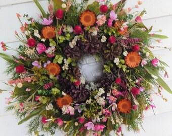 """Front Door Wreath """"Contemplation"""" Year Round Wreath, Country Cottage Wreath, Wildflower Wreath, Primitive Wreath, Pink Wreath"""