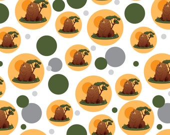 Chubby grizzly bear premium gift wrap wrapping paper roll