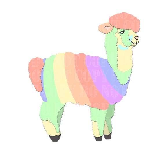 rainbow alpaca clip art clipart alpacas alpaca vectors rh etsy com alpaca silhouette clip art clipart alpaca free
