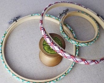 Liberty of London Fabric Covered  Embroidery Hoop. Coloured Embroidery hoop. Tana Lawn. Geometric Print.  Hoop-La frame.