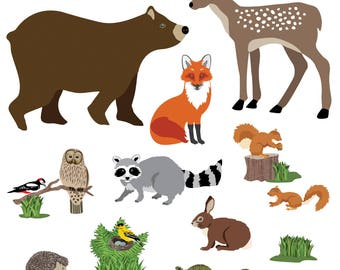 Wall Decals Large Woodland Animals, Bear, Deer, Fox, Raccoon, Owl Removable and Reusable Eco-Friendly Wall Stickers