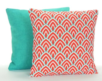 Aqua Red Outdoor Pillow COVERS Beach Throw Cushion Decorative Red Turquoise Cottage Patio Pillow Two Couch Sofa Pair Coastal Cushion Cover