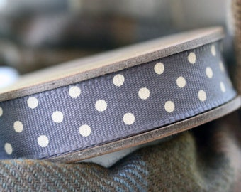East Of India Charcoal With White Dots Grosgrain Ribbon 3m