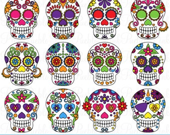 Day of the Dead Skull Clipart Clip Art, Sugar Skulls Clipart Clip Art Vectors - Commercial and Personal Use