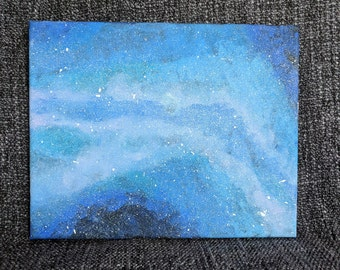 Blue and White Galaxy Acrylic Painting