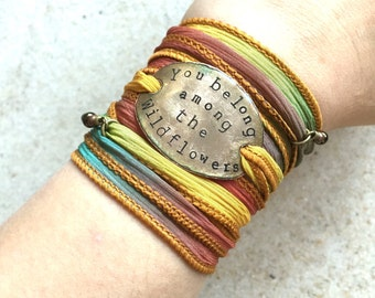 Silk wrap bracelet- you belong among the wildflowers- Boho Silk Wrap Bracelet- yoga wrap- ribbon wrap bracelet- boho- tom petty- BOHO