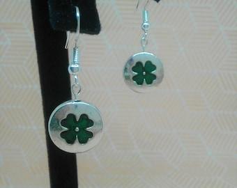 Shamrock on Silver Bead   St. Patrick's Day Earrings   Nickel Free   Dangle Hook Earrings