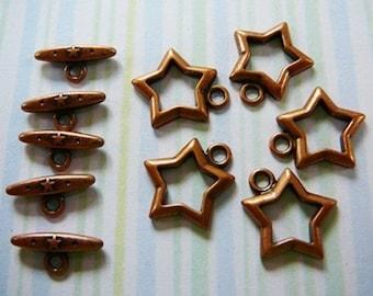 Copper Toggle Clasp, Star, 5