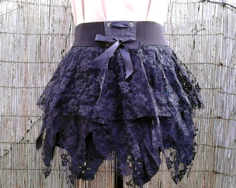 Punk Rock Tattered Lace Ruffled Pixie Skirt ∞ One of a Kind ∞ Upcycled ∞ Eco-Fashion ∞