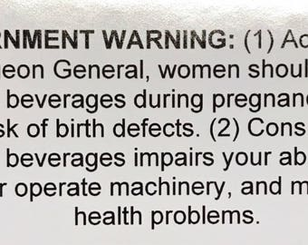 Growler Alcohol Government Warning Label
