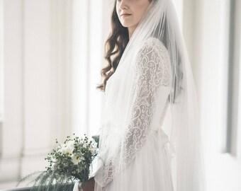 Two tier veil - Bridal veil - Wedding veil with blusher - English net wedding veil - Custom color wedding veil