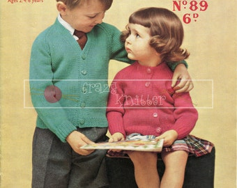 Boy's and Girl's Cardigans DK 2-6 years Sirdar Sunshine Series 89 Vintage Knitting Pattern PDF instant download