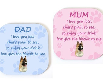 Akita MUM/DAD Coaster Drinks Mat Fun Novelty Birthday/Mothers/Fathers Day Gift - From The DOG