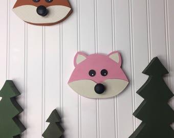 Woodland animals, Lumberjack, forest friend fox wood wall hook with knob