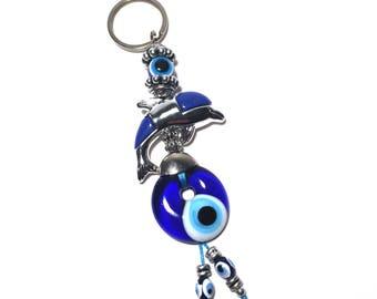 Evil Eye Keychain Dolphin, Evil Eye, Evil Eye Key Chain, Hamsa Keychain,  Evil Eye Hamsa (Buy 1 Get 1 FREE & FREE SHIPPING!!!)