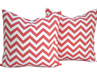 """Two Coral pillow covers, Coral Zig Zag Pillow,  Home decor, decorative pillow, throw pillow, Orange Pillow, Coral Pillow, 14"""", 16"""", 18"""", 20"""""""