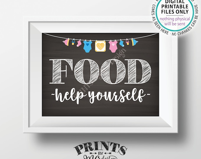 """Food Sign, Help Yourself, Buffet Sign, Appetizers, Baby Shower Decorations, Neutral Clothesline, PRINTABLE 5x7"""" Chalkboard Style Sign <ID>"""