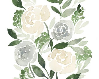 Neutral Flower Watercolor - INSTANT DOWNLOAD