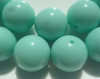 12mm. 25 CT.  Mint Blue Gumball Beads, Chunky Beads, 12mm Chunky Beads, D11
