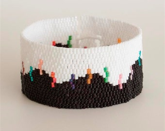 OOAK Black and White Peyote Bracelet with Multi color Stripes. Abstract Beaded Cuff Bracelet for Young Women. Color block One Of A Kind S246