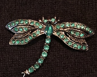 Faux Emerald Dragonfly Pin