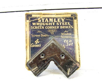 Vintage Stanley Hardware - Advertising - Screen Braces on Card - General Store - Vintage Tools - Antique Hardware