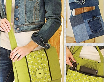 Grab & Go Tote PDF sewing epattern - quick and easy tote pattern includes instructions to create from recycled denim jeans