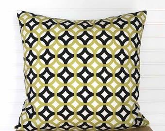 Modern Geometric Pillow Cover, Black Pillow Cover, Citron Green Pilliow Cover, Green Throw Pillow, 18x18 Pillow, Geometric Cushion Cover
